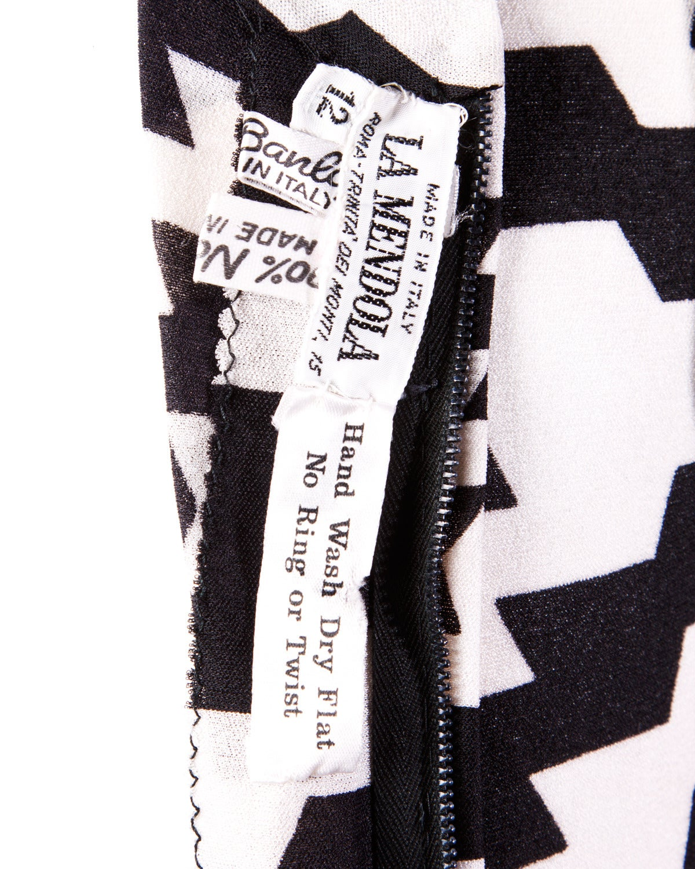 La Mendola Vintage 1970s 70s Custom Couture Graphic Black + White Op Art Dress 8