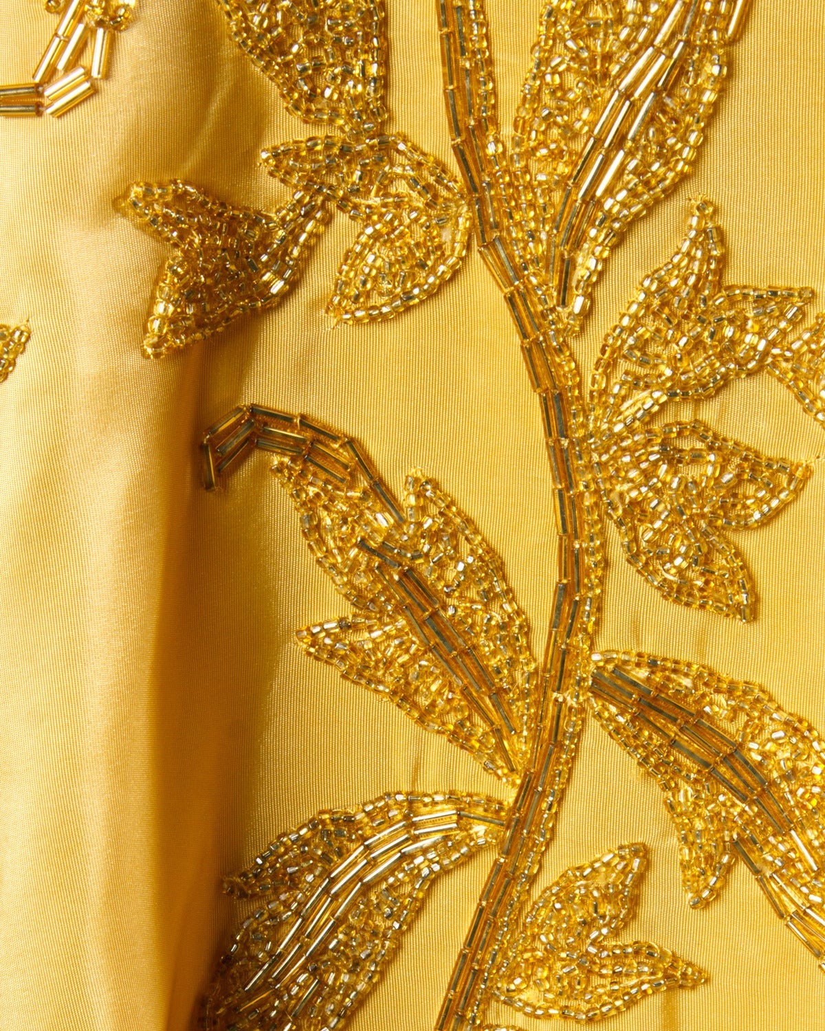 Vintage 1950s 50s Gold Yellow Hand-Beaded Couture Silk Cocktail Dress For Sale 2