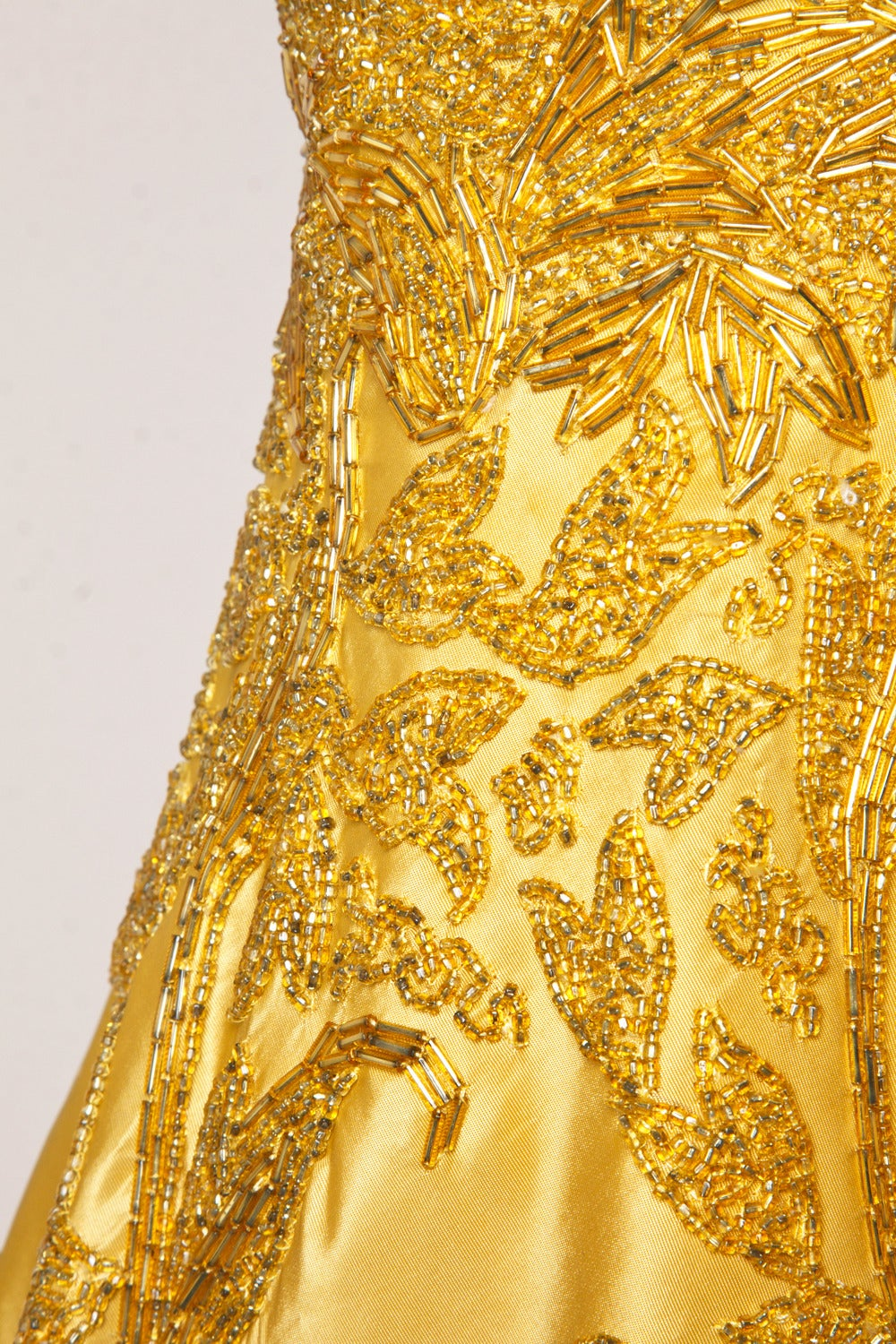 Vintage 1950s 50s Gold Yellow Hand-Beaded Couture Silk Cocktail Dress For Sale 1