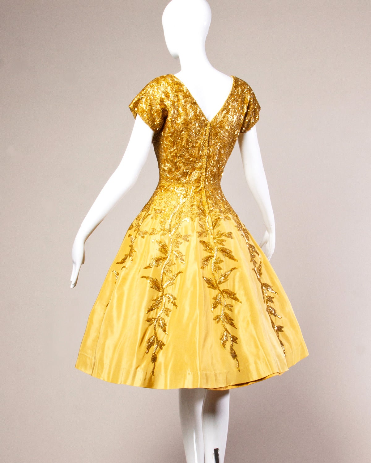 Women's Vintage 1950s 50s Gold Yellow Hand-Beaded Couture Silk Cocktail Dress For Sale