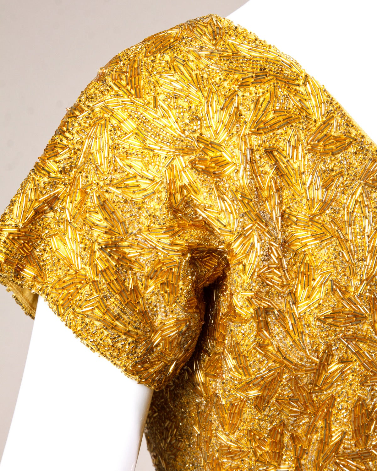 Vintage 1950s 50s Gold Yellow Hand-Beaded Couture Silk Cocktail Dress In Excellent Condition For Sale In Sparks, NV