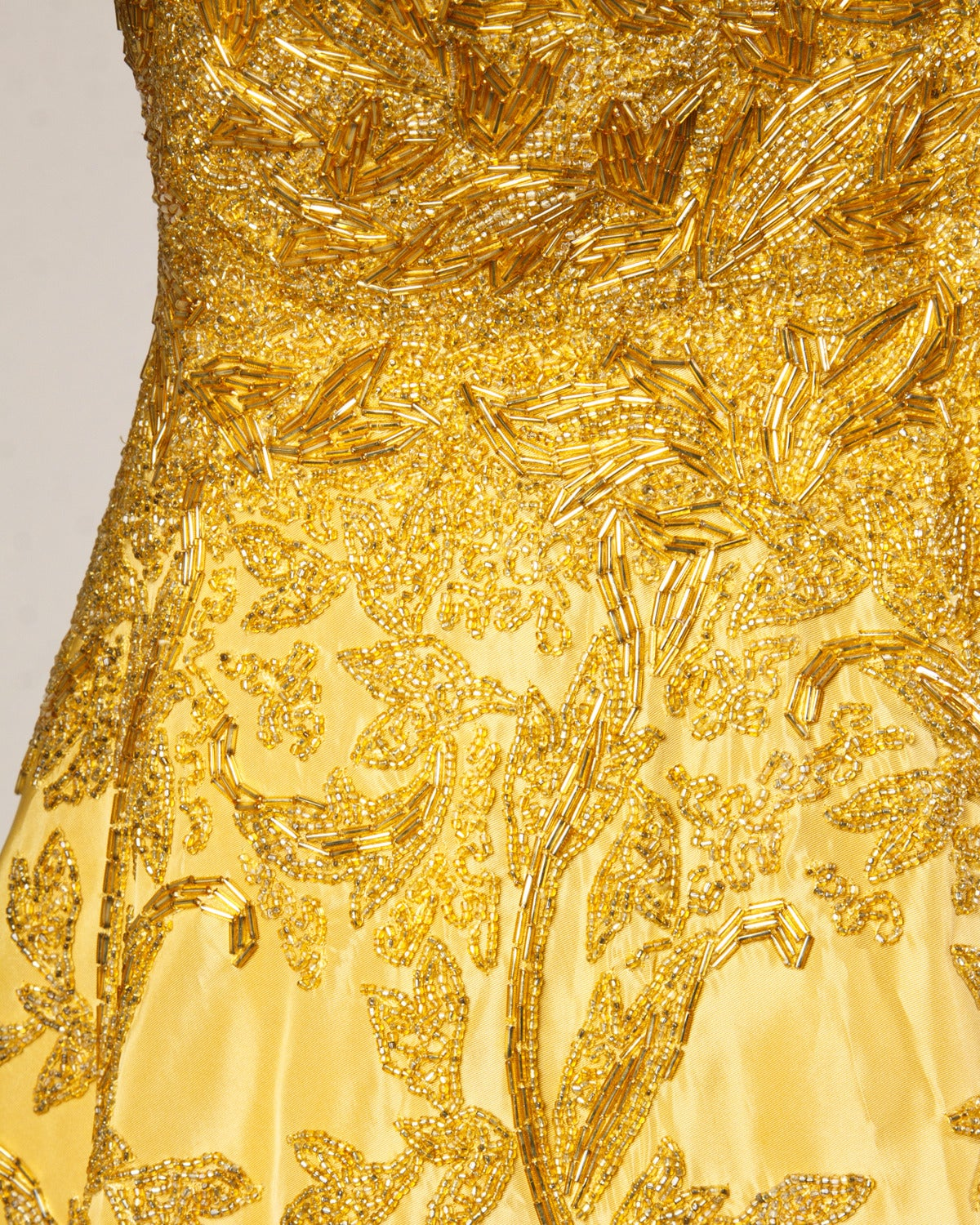 Vintage 1950s 50s Gold Yellow Hand-Beaded Couture Silk Cocktail Dress For Sale 4