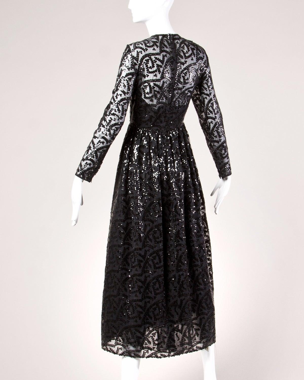 Evelyn Byrnes Vintage 1970s 70s Long Black Sequin Maxi Dress 3
