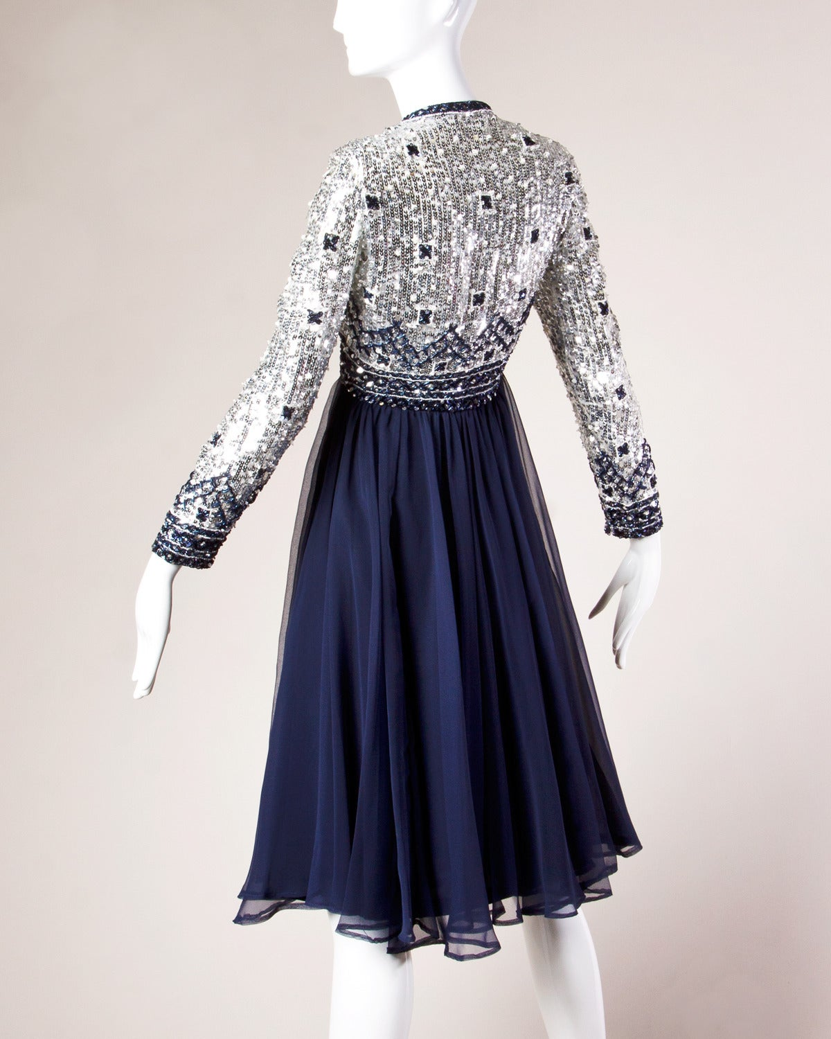 1970s Vintage Navy Blue Silk Sequin Beaded Formal Dress