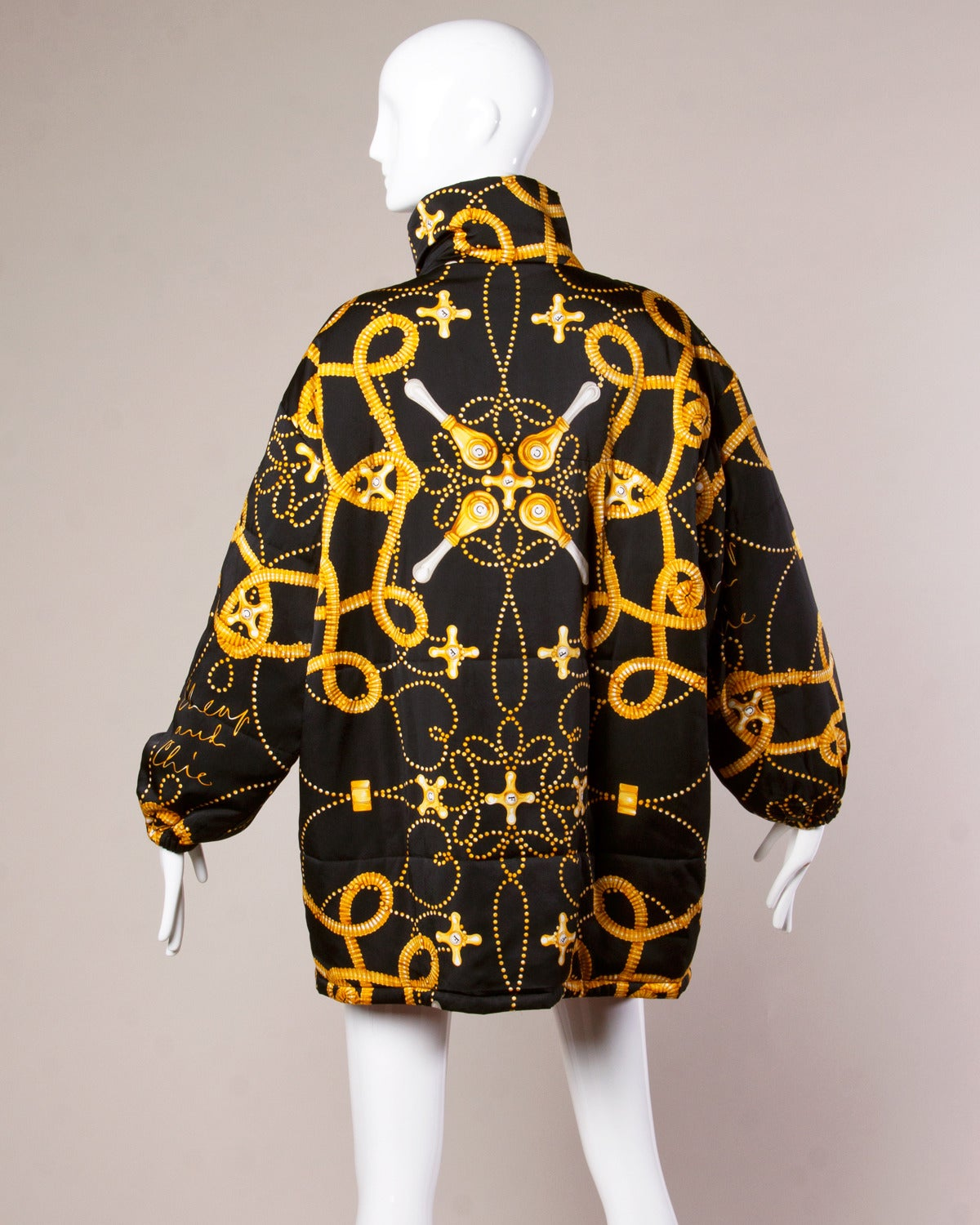 1991 Moschino Vintage 1990s 90s Water Faucet Print Silk Down Jacket 3
