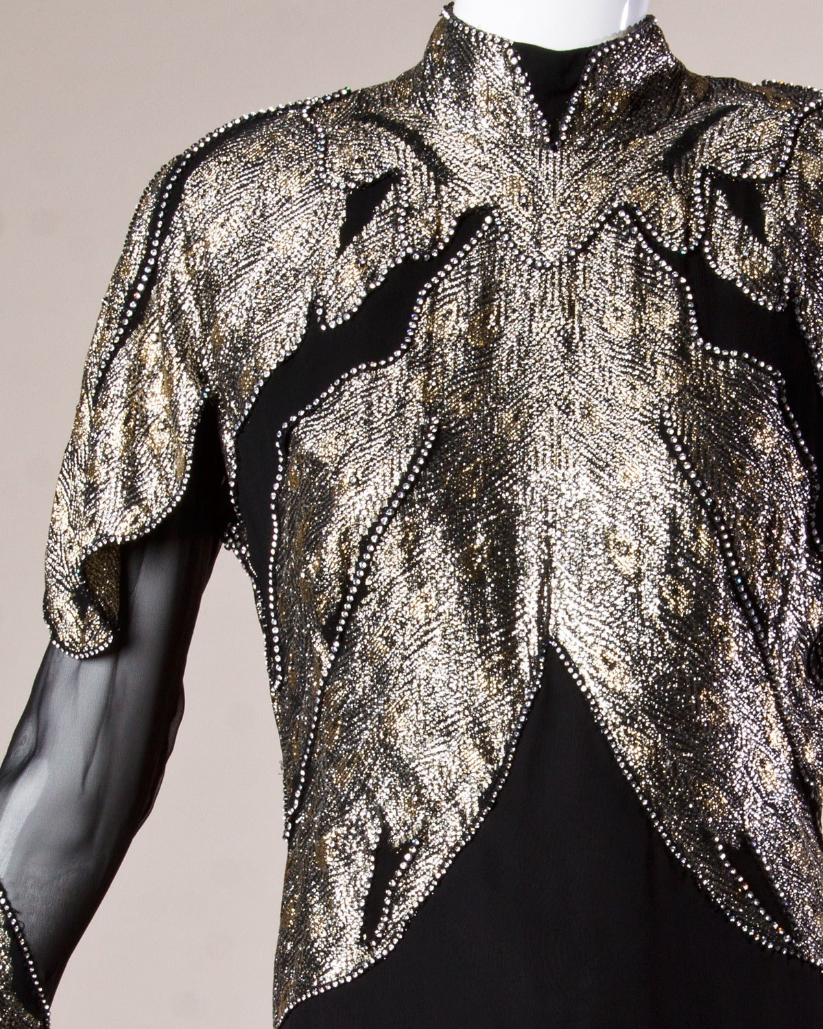 "Saks Fifth Avenue Vintage 1980s 80s Metallic Rhinestone ""Feather"" Dress 5"