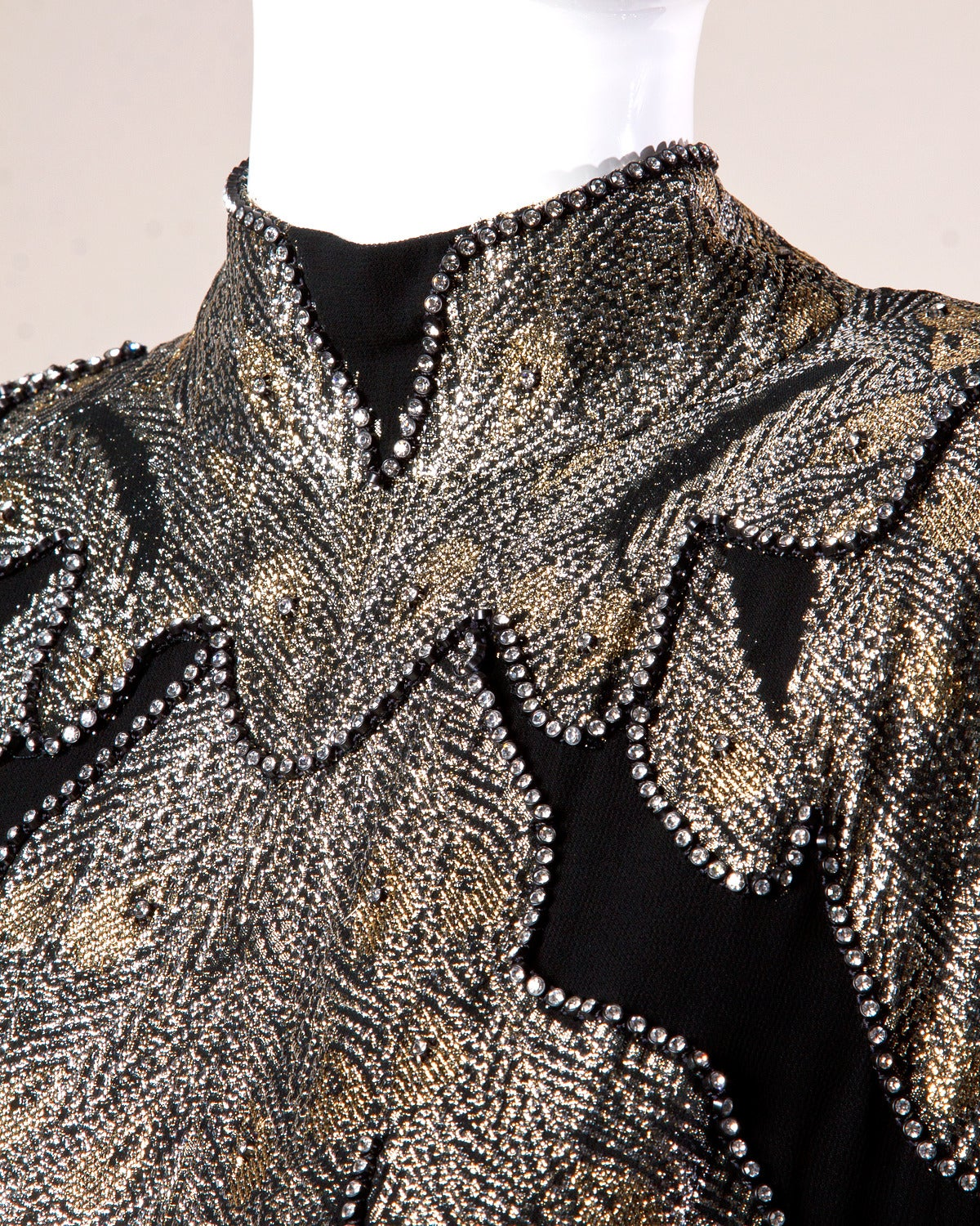 "Saks Fifth Avenue Vintage 1980s 80s Metallic Rhinestone ""Feather"" Dress 6"