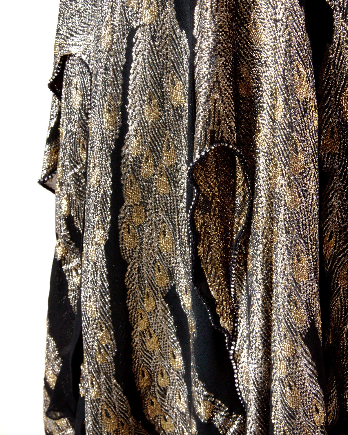 "Saks Fifth Avenue Vintage 1980s 80s Metallic Rhinestone ""Feather"" Dress 7"