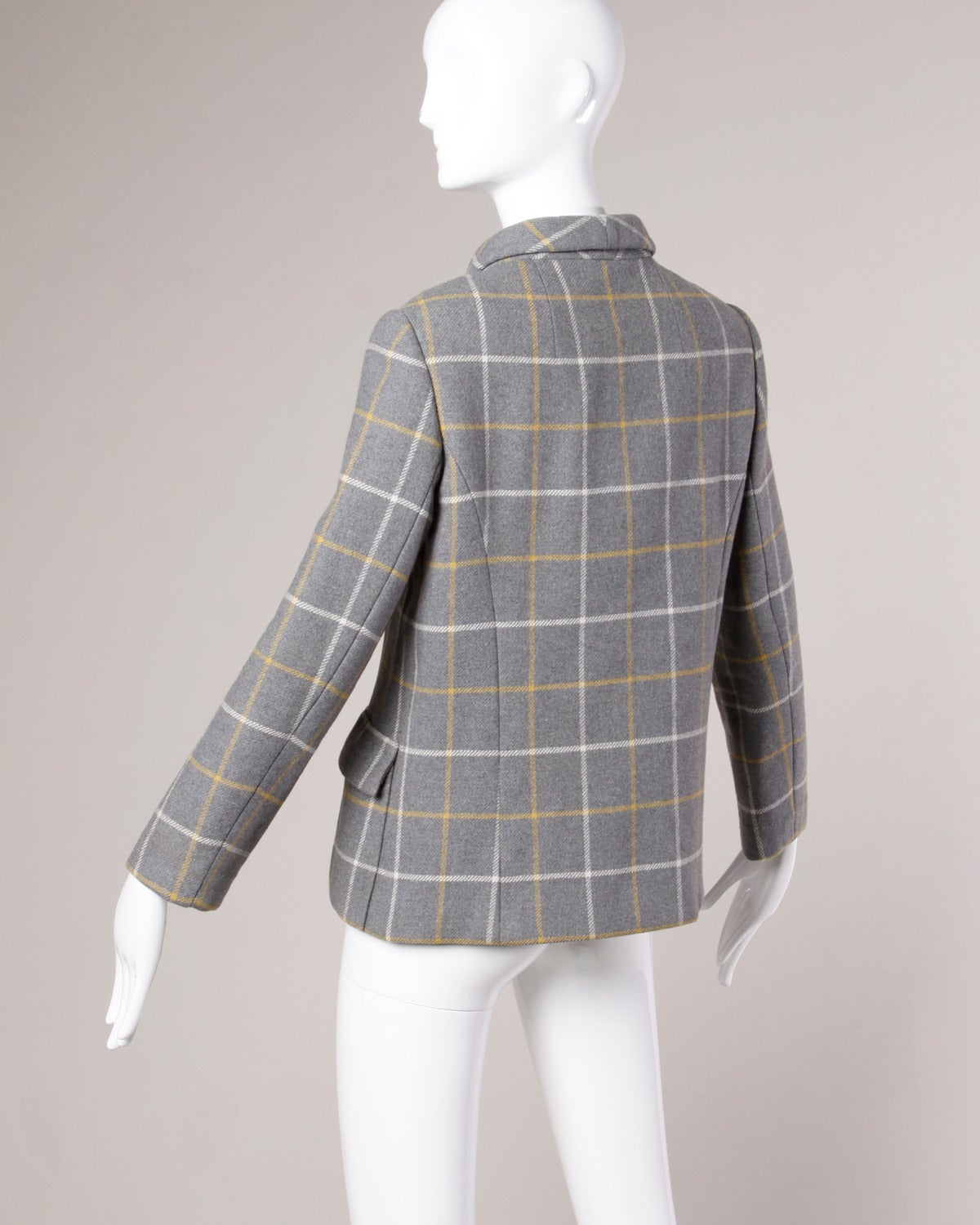 Gray Christian Dior Vintage 1960s Wool Plaid Tailored Jacket For Sale