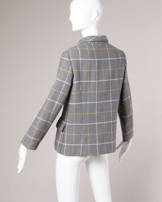 Christian Dior Vintage 1960s Wool Plaid Tailored Jacket 3