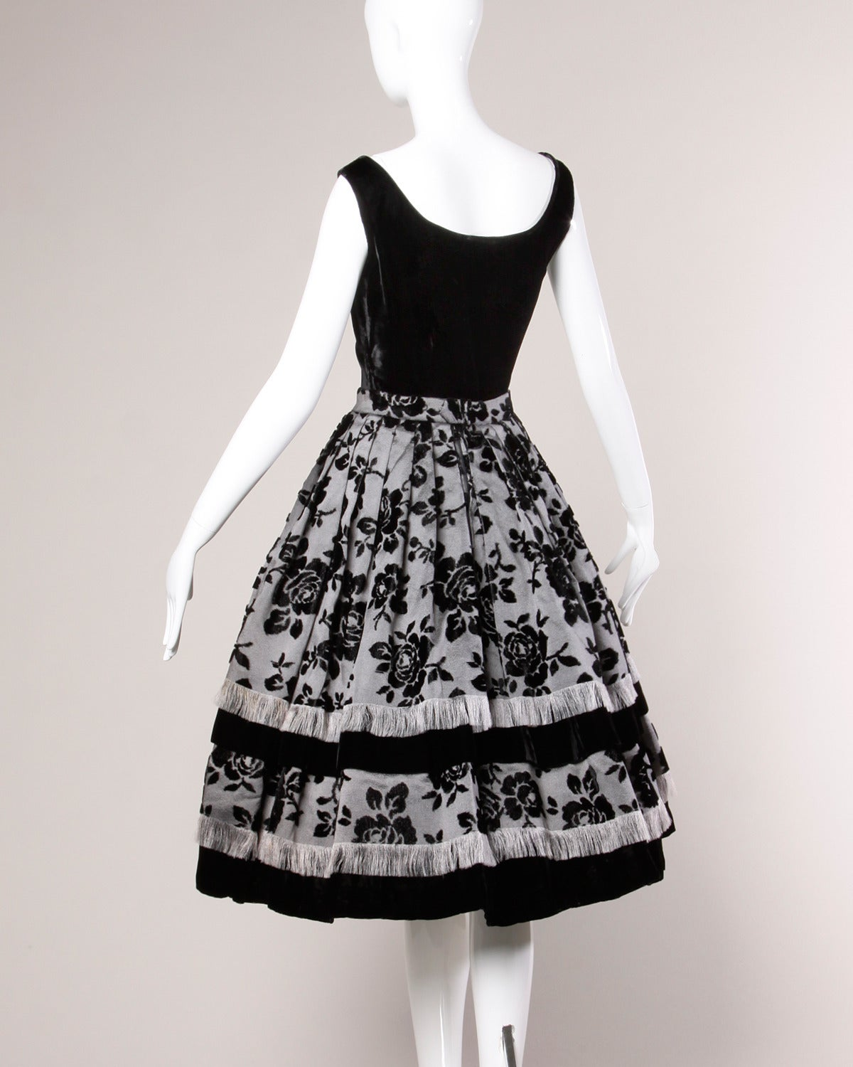 Black Vintage 1950s French Couture Flocked Silk Velvet Top + Skirt Ensemble For Sale