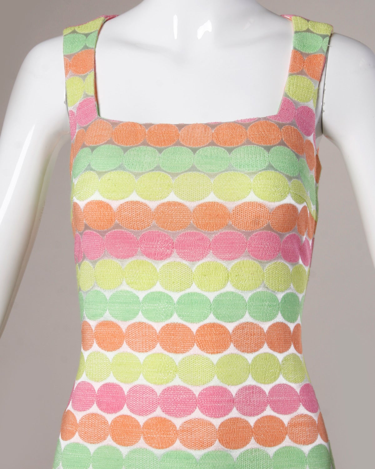 Gianni Versace Vintage 1990s 90s Neon Polka Dots Body Con Dress 2