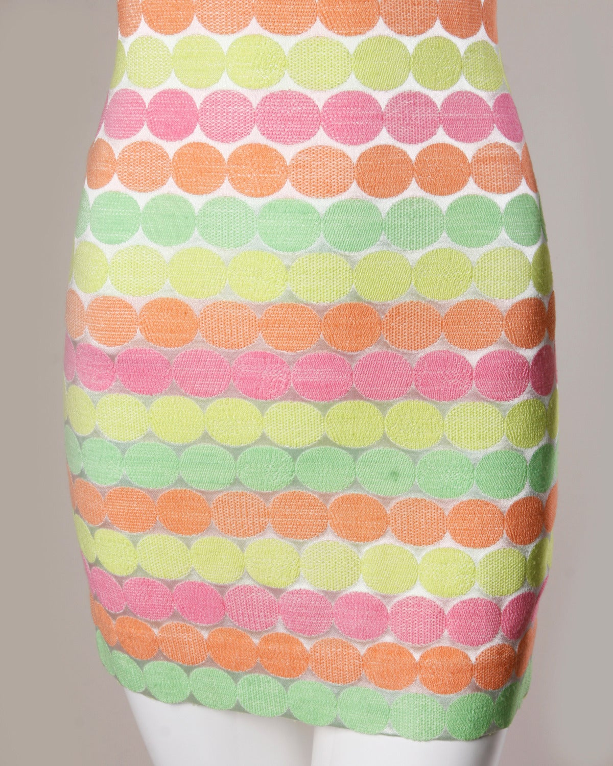 Gianni Versace Vintage 1990s 90s Neon Polka Dots Body Con Dress 3