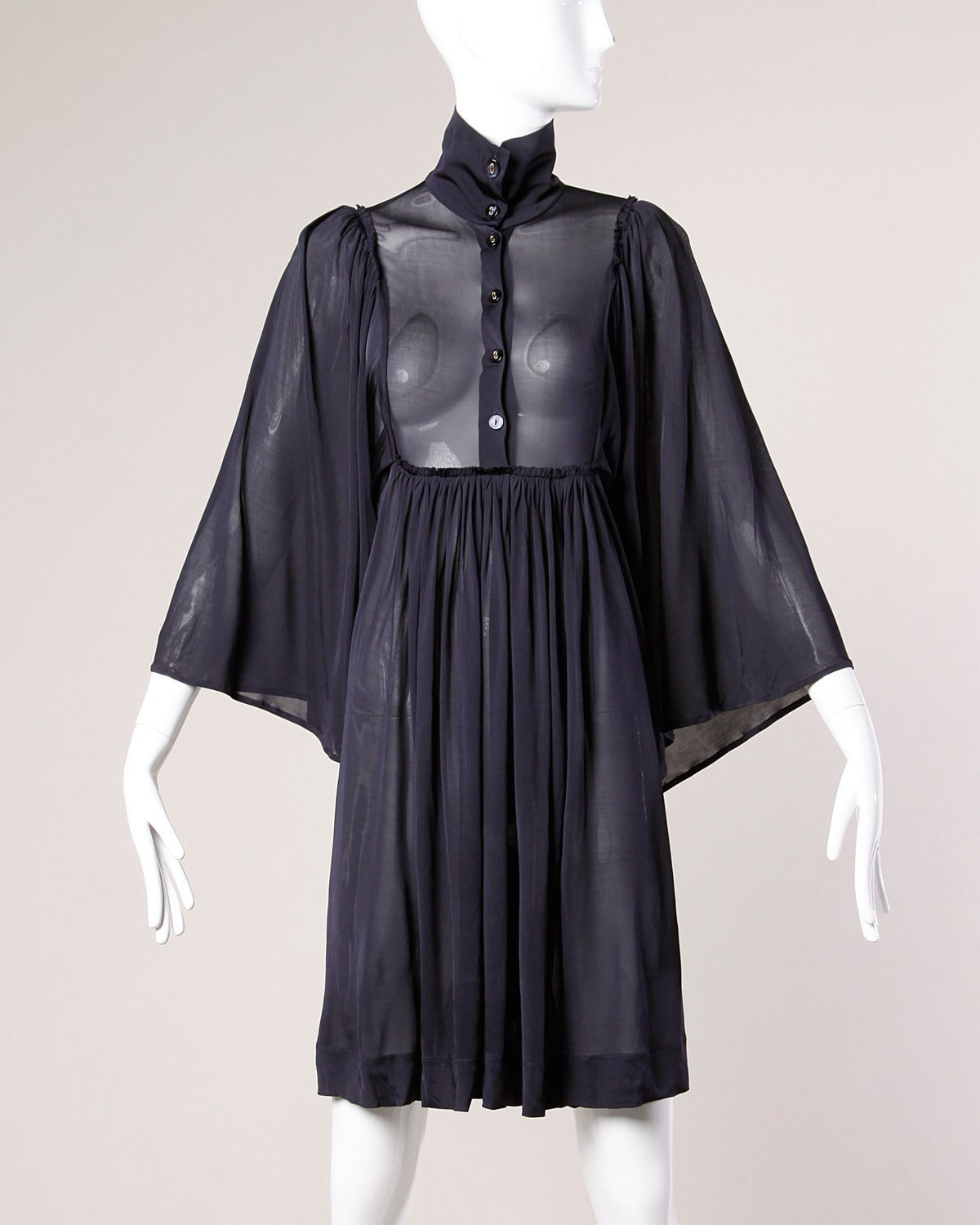 Stella McCartney Recent Sheer Navy Blue Dress with Angel Batwing Sleeves 4