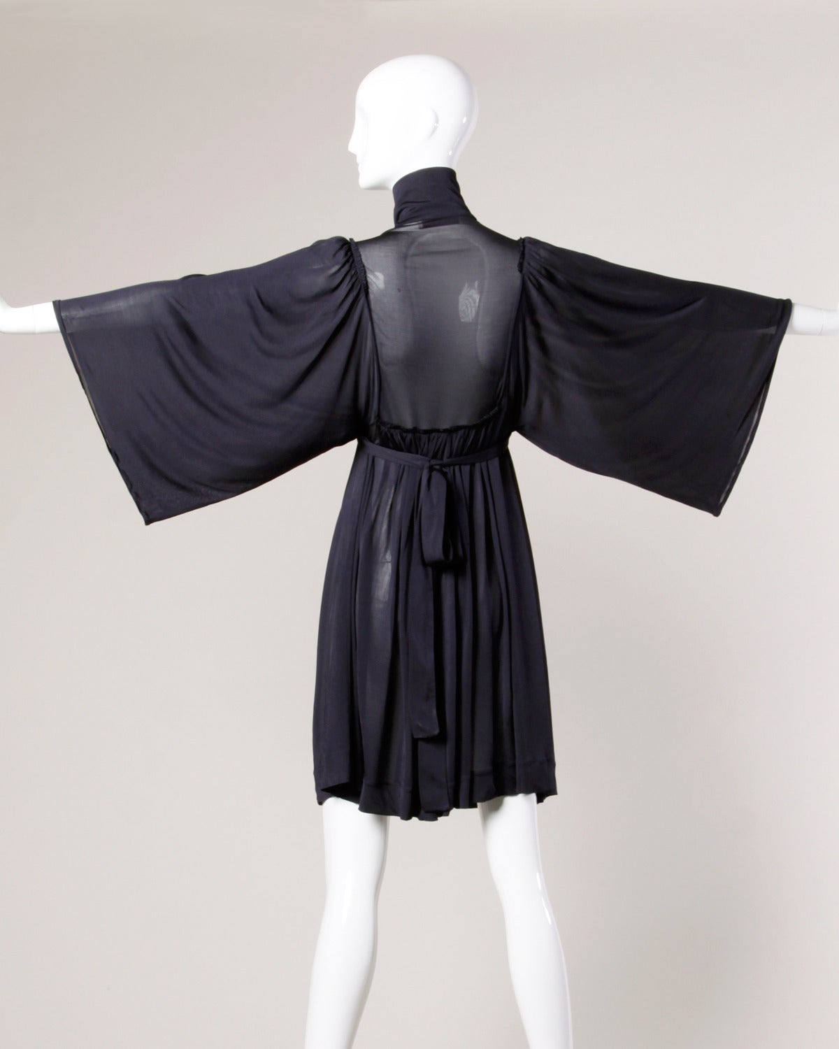 Stella McCartney Recent Sheer Navy Blue Dress with Angel Batwing Sleeves 3