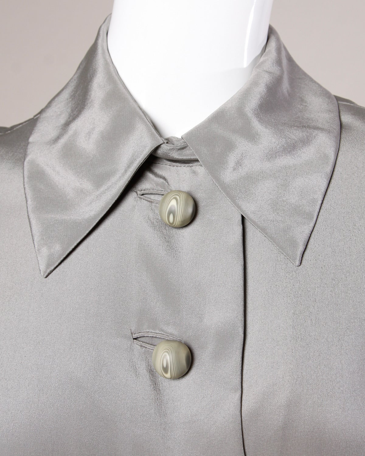 Gray Cardinali Vintage Couture 1970s Silk Jacket with Marbled Bobble Buttons For Sale