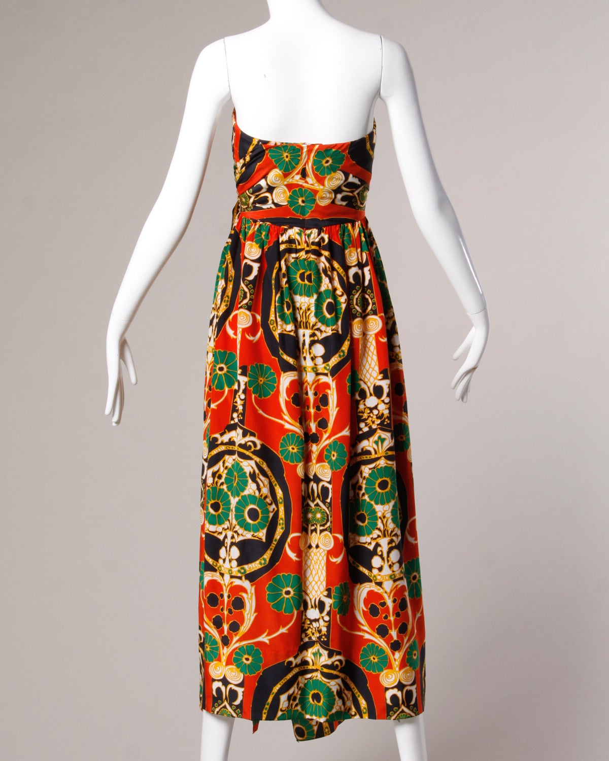 Donald Brooks Vintage 1970s Asian-Inspired Silk Print Gown + Cape Ensemble For Sale 2
