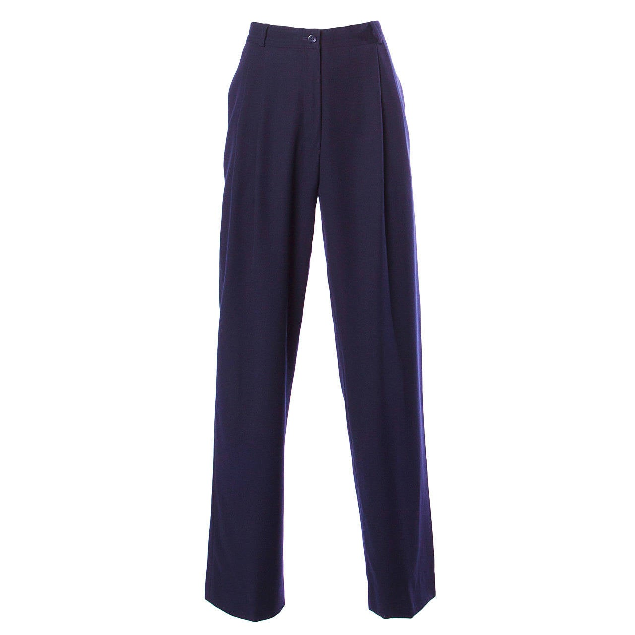 Valentino Vintage Navy Blue High Waisted Pleated Trousers