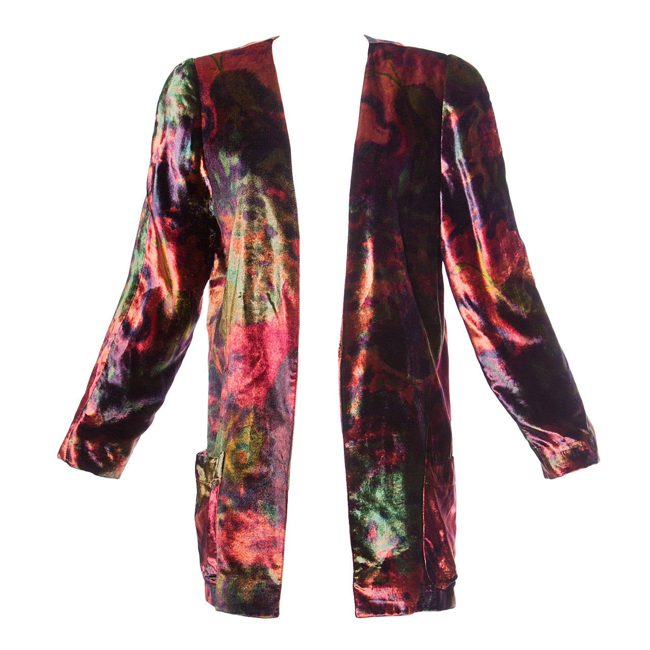 Krizia Vintage Colorful Velvet Cardigan or Jacket at 1stdibs