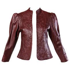 Oscar de la Renta Numbered Vintage Embossed Burgundy Leather Jacket