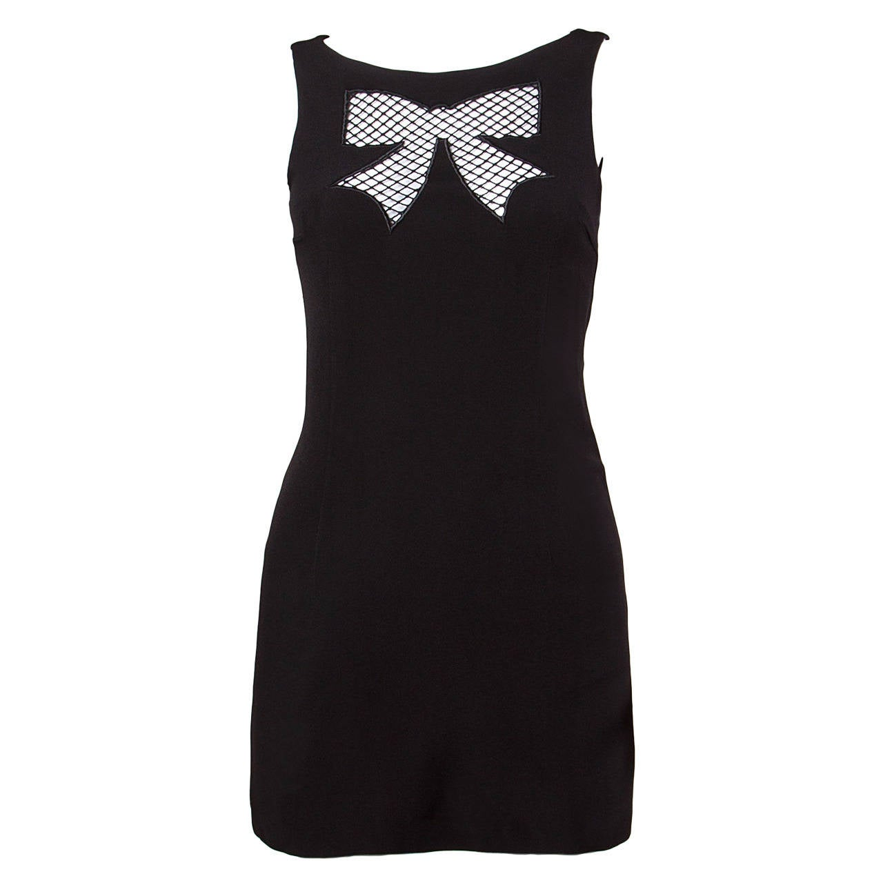 Moschino Vintage Black Cut Out Bow Tie Mini Dress, 1990s