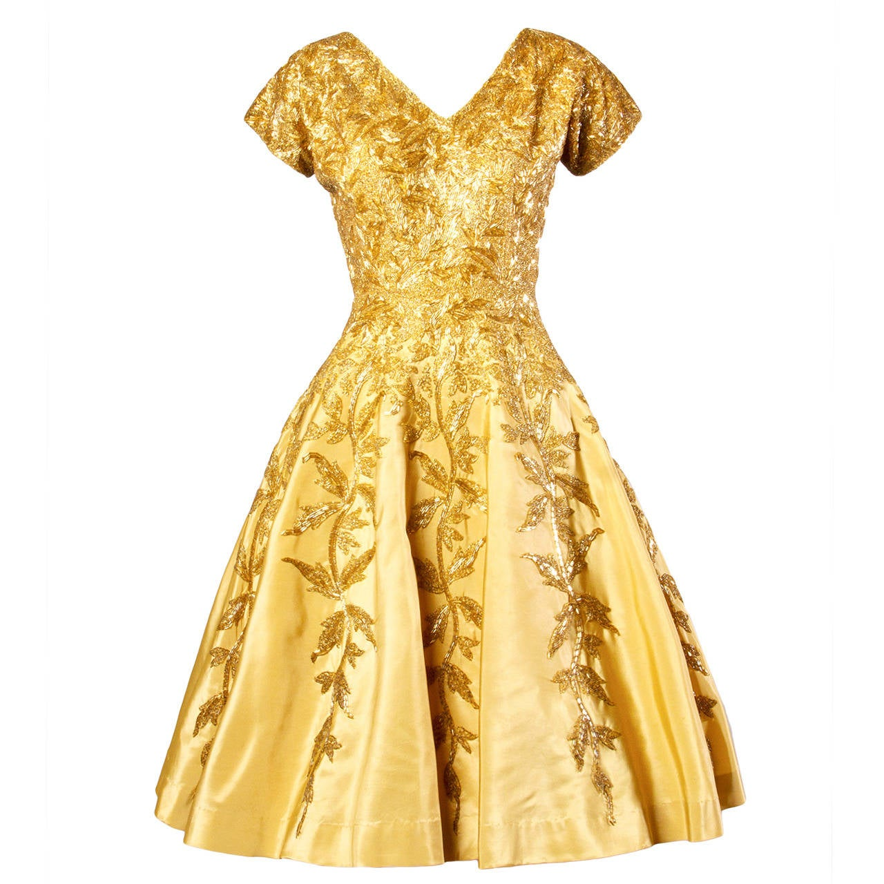 Vintage 1950s 50s Gold Yellow Hand-Beaded Couture Silk Cocktail Dress For Sale