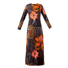 Somotex Vintage 1970s Monte-Carlo Couture Silk Jersey Maxi Dress