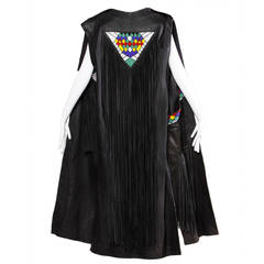 Vintage 1970s 70s Hand-Beaded Leather Statement Vest with Long Fringe