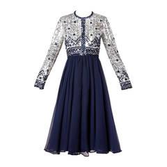 1970s Vintage Navy Blue Silk Sequin + Beaded Formal Dress