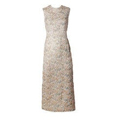 Vintage 1960s Sequin, Beaded + Embroidered Heavily Embellished Maxi Dress