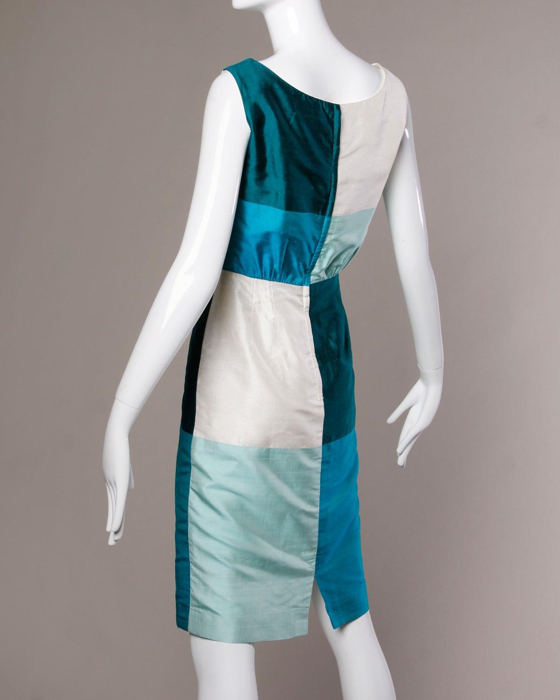 Vintage 1940s Color Block Swag Dress: Vintage 1960s 60s Blue Color Block Silk Dupioni Sheath