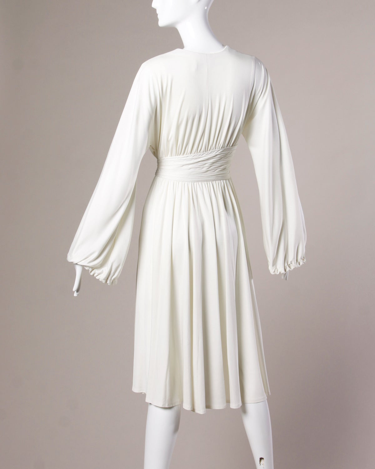 Donald Brooks Vintage 1970s White Draped Midi Dress For Sale 1