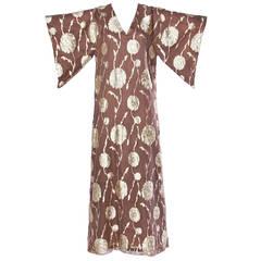 Vintage 1970s Metallic Organza Silk Caftan Maxi Dress with Kimono Sleeves