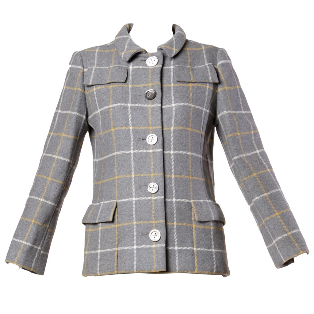Christian Dior Vintage 1960s Wool Plaid Tailored Jacket