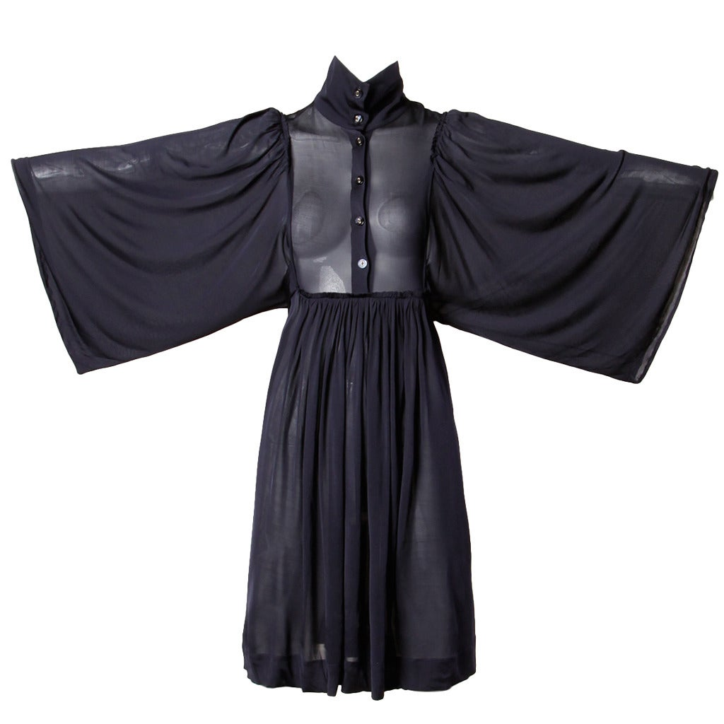Stella McCartney Recent Sheer Navy Blue Dress with Angel Batwing Sleeves 1