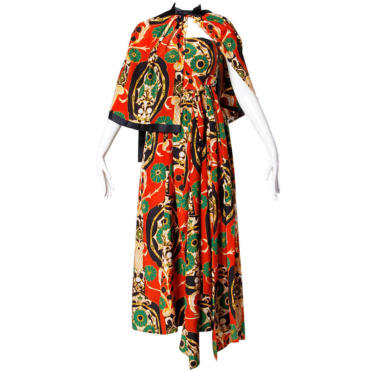 Donald Brooks Vintage 1970s Asian-Inspired Silk Print Gown + Cape Ensemble 1