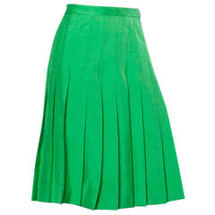 Amen Wardy Vintage Kelly Green Raw Silk Pleated Skirt