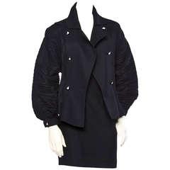 Bernard Perris Vintage 1990s 90s Black Wool Avant Garde Jacket Skirt 2-Pc Set
