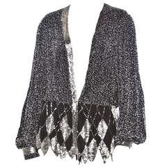 Vintage Amen Wardy 1980s 80s Black Silk Silver Beaded Plunging Jacket/ Top
