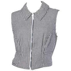 Gianni Versace Vintage 1990s 90s Black + White Houndstooth Sporty Vest Jacket