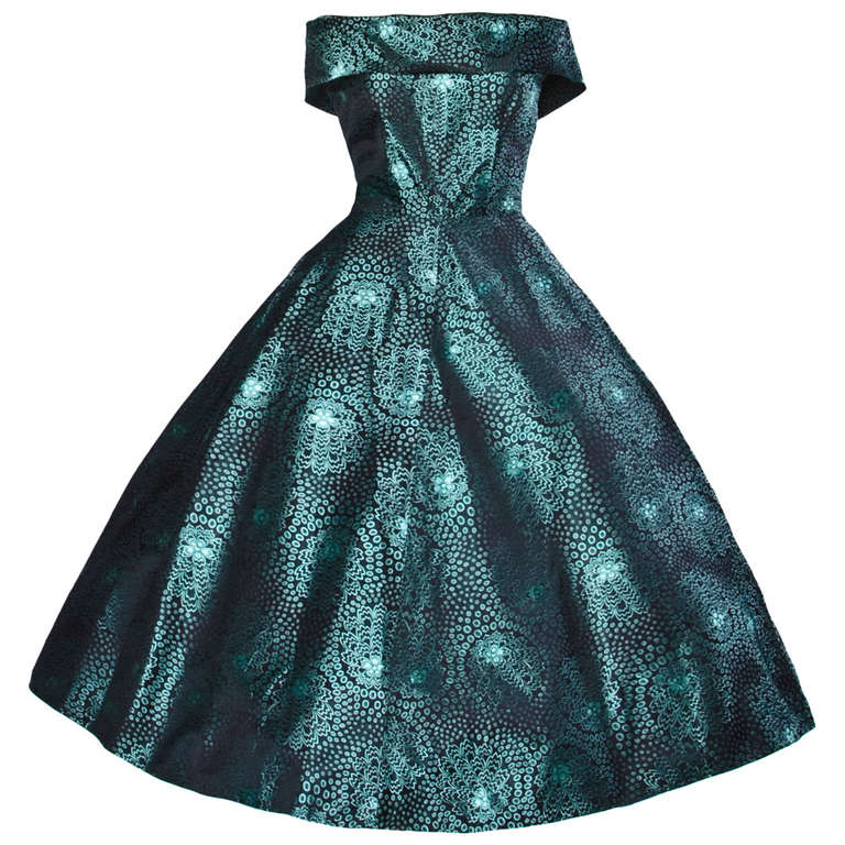742865f0e4f Vintage 1950s 50s Blue + Black Silk Full Sweep Cocktail Formal Party Dress  For Sale
