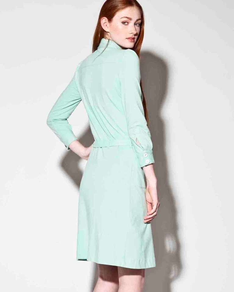 moschino mint green jersey knit button up shirt dress at