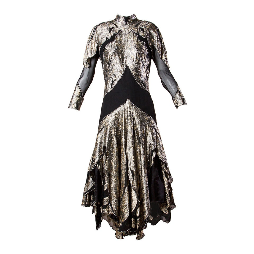 "Saks Fifth Avenue Vintage 1980s 80s Metallic Rhinestone ""Feather"" Dress 1"
