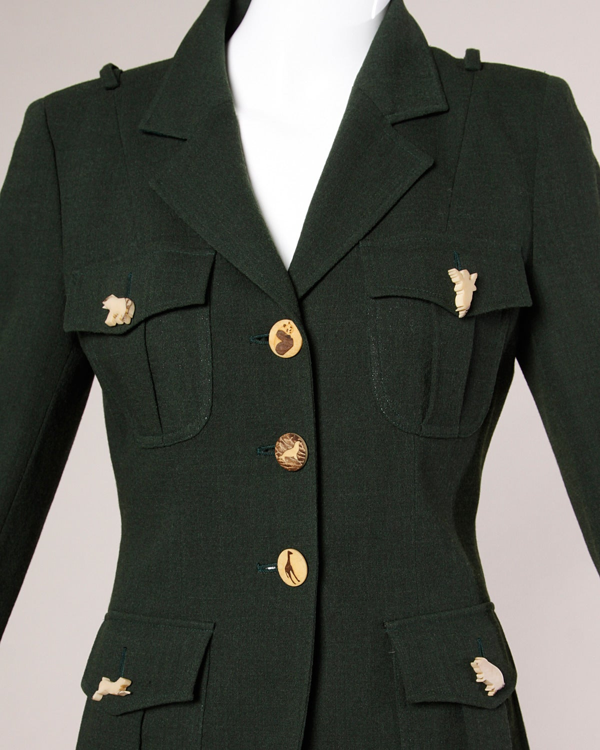 "Moschino Vintage ""Full Nature Jacket"" Skirt Suit with Carved Animal Buttons 2"