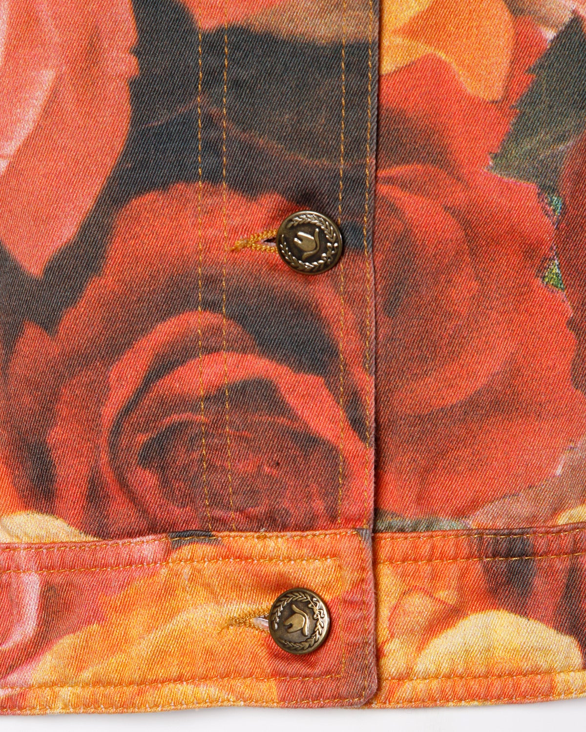 Women's Moschino Jeans Vintage Floral Photo Print Denim Jacket, 1990s  For Sale