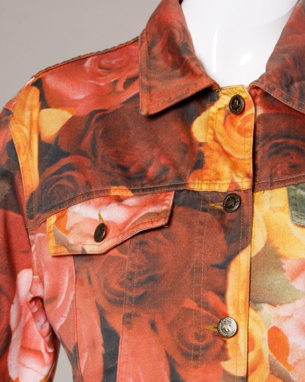 Orange Moschino Jeans Vintage Floral Photo Print Denim Jacket, 1990s  For Sale
