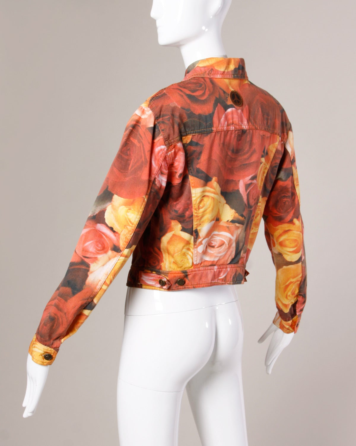 Moschino Jeans Vintage Floral Photo Print Denim Jacket, 1990s  For Sale 1
