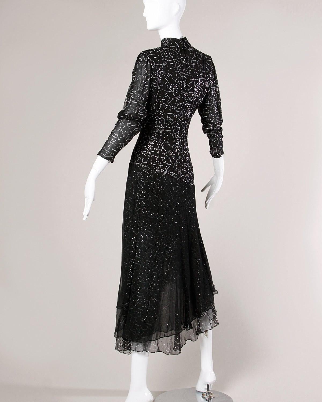 "Hanae Mori Vintage ""Constellation + Stars Map"" Silk Chiffon Gown 3"