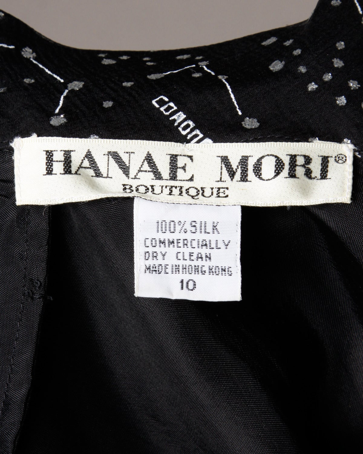 "Hanae Mori Vintage ""Constellation + Stars Map"" Silk Chiffon Gown For Sale 4"