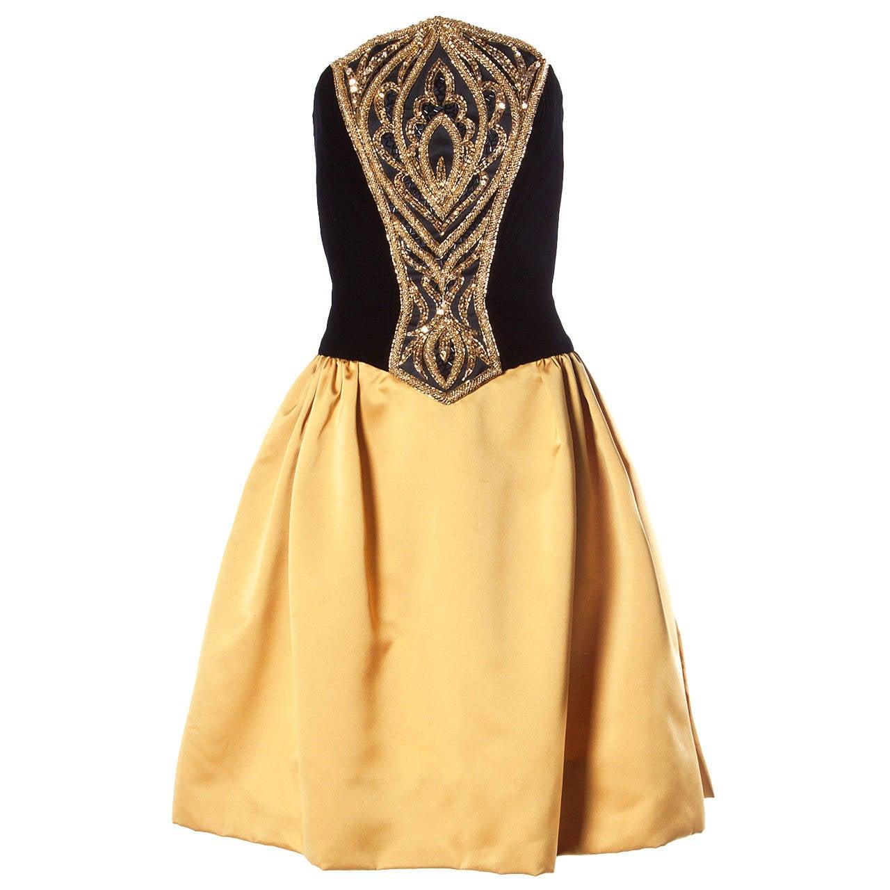 Bob Mackie Vintage 1990s Strapless Black + Gold Beaded Evening Dress 1